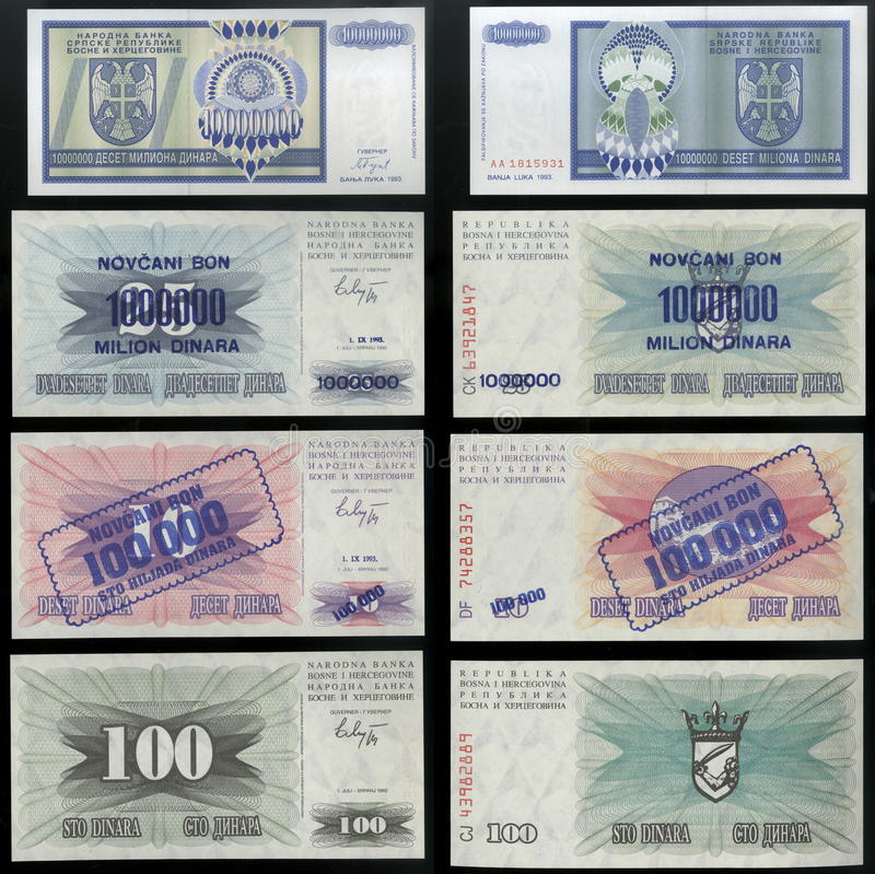 Scanarray four banknotes dinars people's Bank of Bosnia and Herzegovina of 1992. Scanarray four banknotes in denominations of one hundred, one hundred thousand stock images