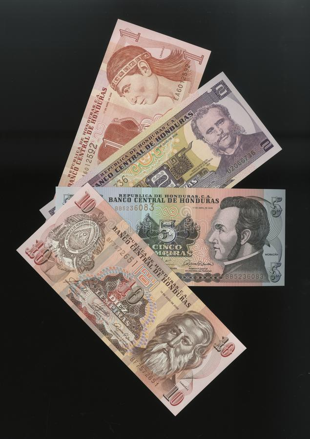 Scanarray four banknotes of 1, 2, 5 and 10 Lempira. Central Bank of Honduras,located in the modern treatment of spread out like a fan. The Lempira is the stock photos