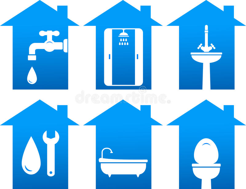 Scandagliare insieme delle icone del bagno illustrazione di stock