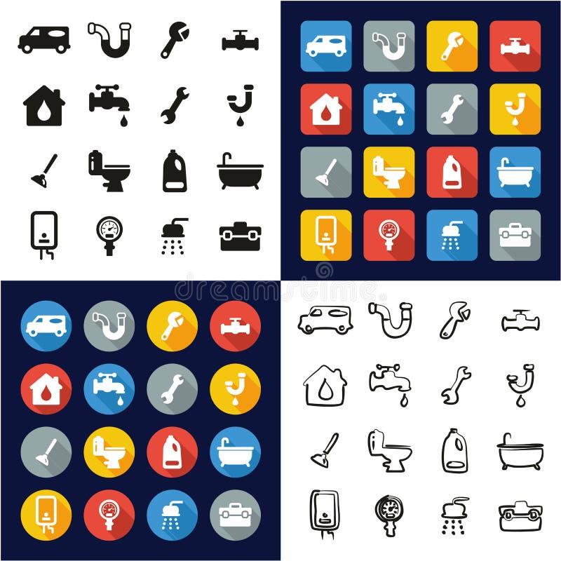 Scandagliare tutto in un insieme a mano libera di progettazione piana bianca e nera di colore delle icone royalty illustrazione gratis