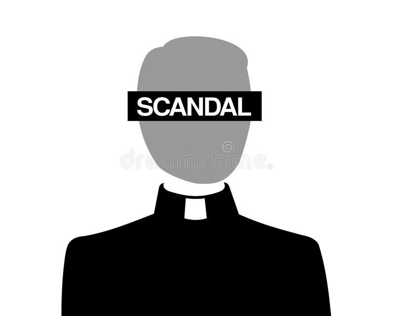 Scandal in catholic christian church vector illustration