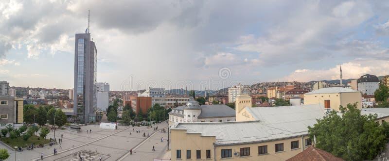 Scanderbeg Vierkante panoramisch Pristina stock foto's