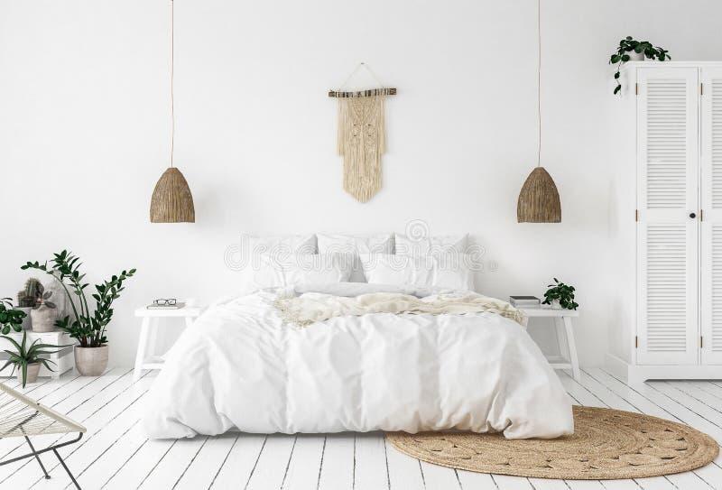 Scandi-boho样式卧室 免版税图库摄影