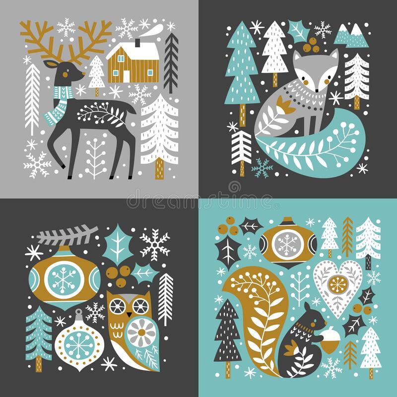 Scandinavian Christmas illustration. With cute woodland animals, woods and snowflakes on dark grey background. Perfect for tee shirt logo, greeting card, poster royalty free illustration