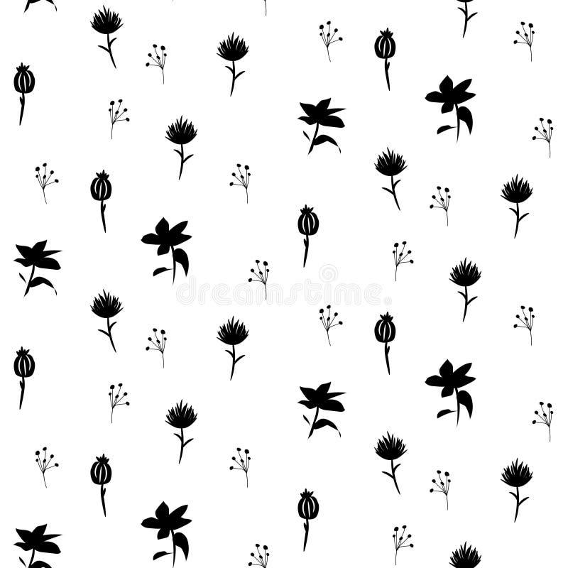 Scandi plant naadloos vectorpatroon in zwart-witte kleuren vector illustratie