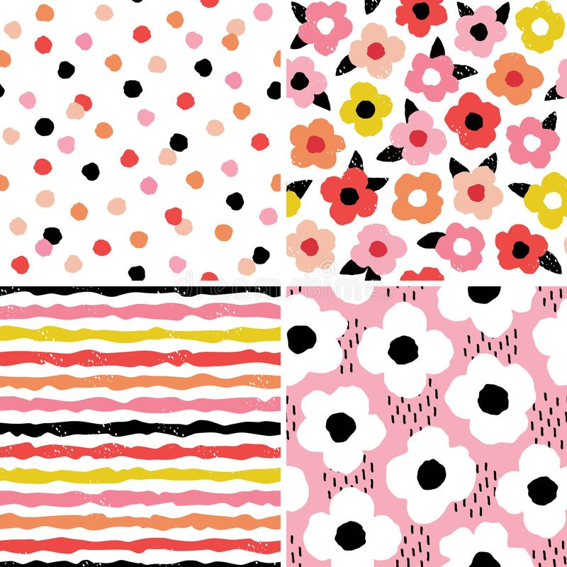Scandi style floral and geometric set - red blush pink yellow. Vector set of seamless modern scandinavian style floral and geometric backgrounds in red, black stock illustration