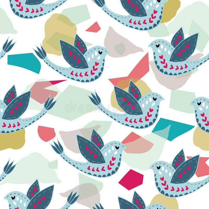 Scandinave Birdie Pattern Design illustration de vecteur