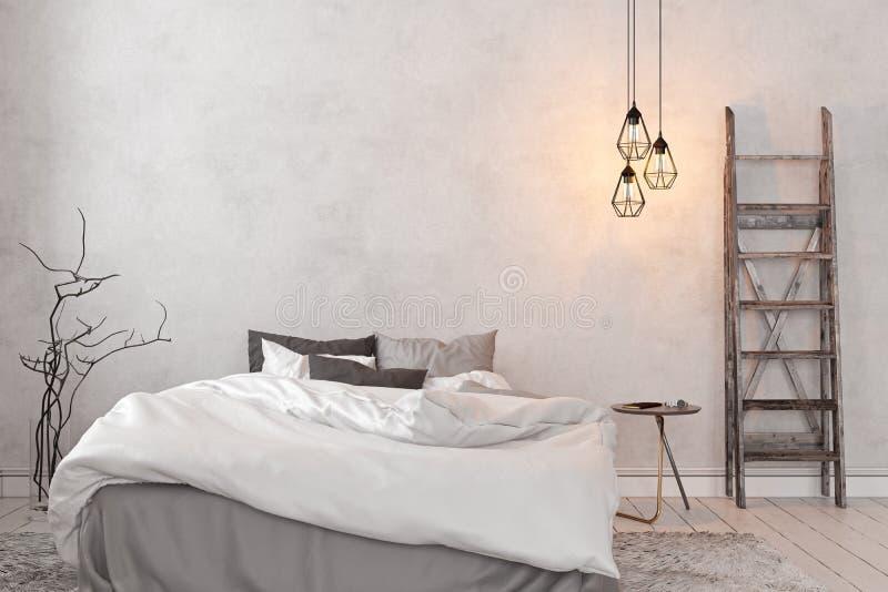 Scandinave, chambre à coucher blanche vide intérieure de grenier illustration libre de droits