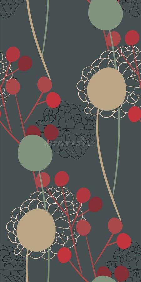 Scandinave primitif sans couture gris de conception florale de vecteur de modèle de fleur d'abrégé sur pré images libres de droits