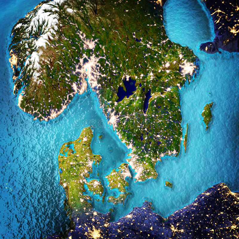 Scandinavia. Elements of this image furnished by NASA. 3D rendering stock illustration