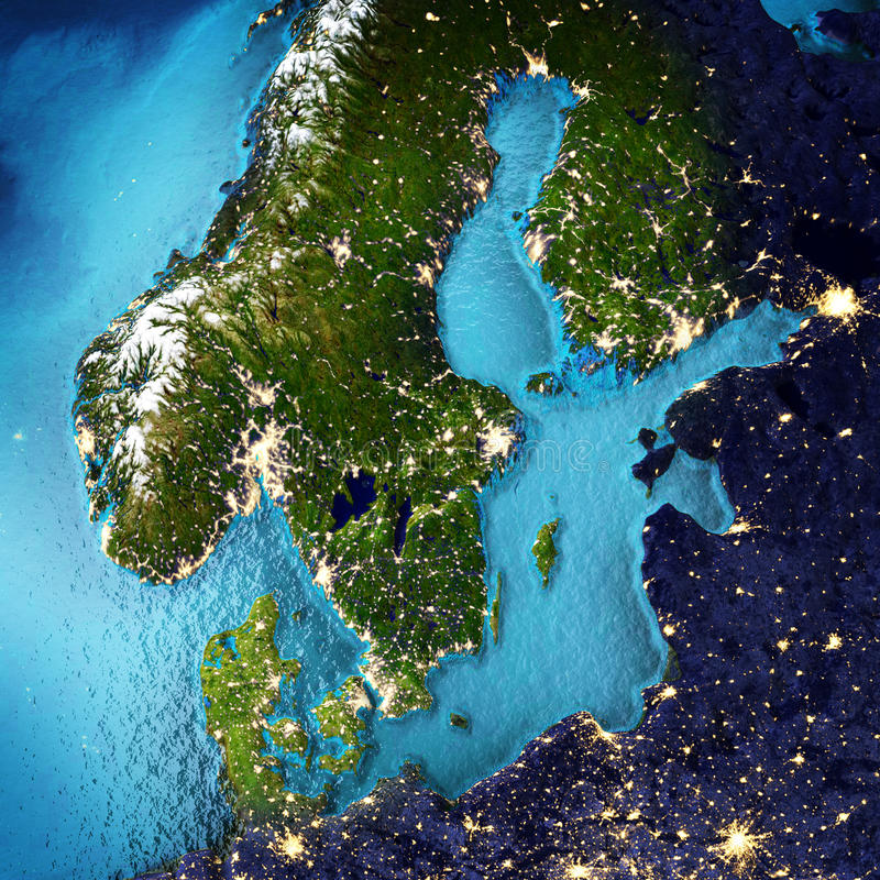 Scandinavia. Elements of this image furnished by NASA. 3D rendering royalty free illustration