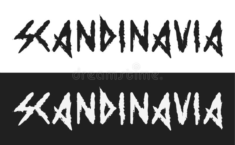 Scandinavia, Vector text label in dark style with the ancient viking alphabet white and black style isolated. Creative caption demonstrates the severity and royalty free illustration