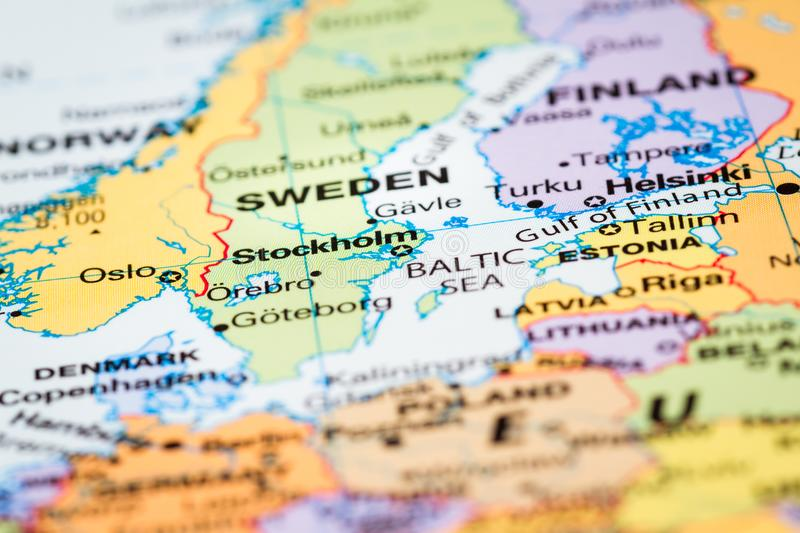 Scandinavia on a map stock photo image of macro countries 104671166 scandinavia on a world map with sweden in focus gumiabroncs