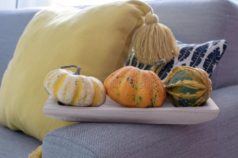 Scandinavian autumn inspired home decor - closeup of wooden tray with pumpkins, cozy Living room, Sofa Cushion Knitted plaid, traw stock photography