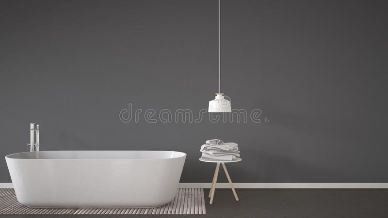 Scandinavian bathroom background, bathtub, table and lamp on her vector illustration