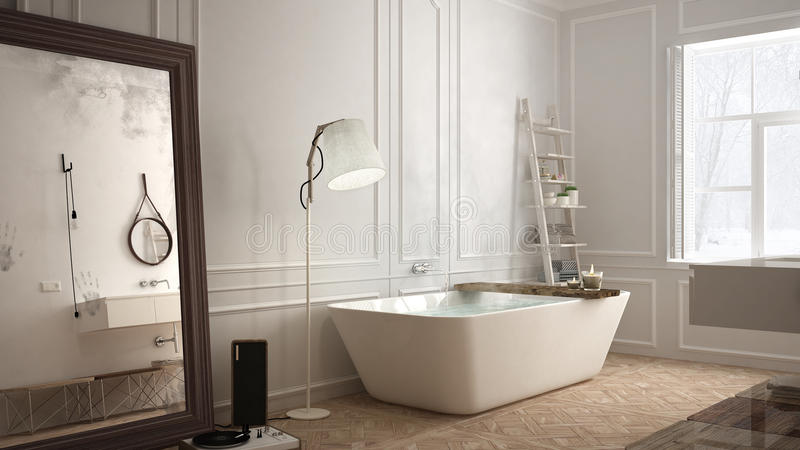Scandinavian bathroom, white minimalistic design, hotel spa resort stock photo