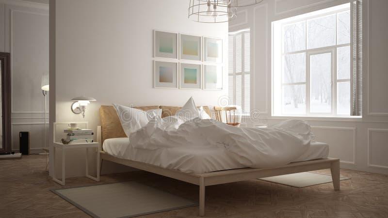 Scandinavian bedroom, white minimalistic design, hotel spa resort royalty free illustration
