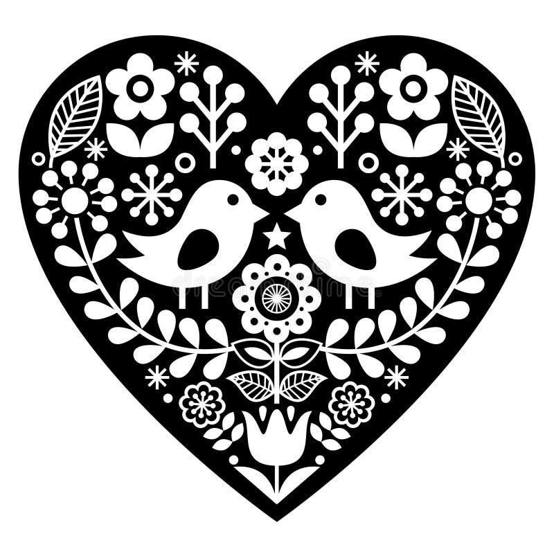 Free Scandinavian Black Folk Art Pattern With Birds And Flowers - Valentine`s Day, Love Concept Stock Photos - 89645143