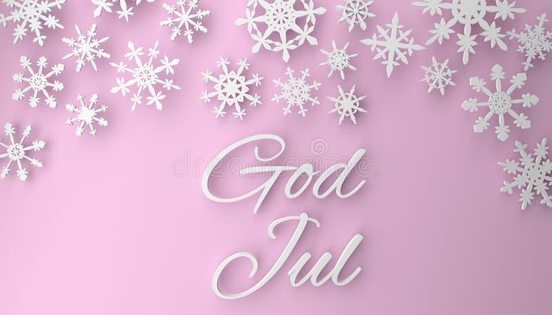 Scandinavian Christmas background with snowflakes on pink. God Jul, Scandinavian Christmas background with snowflakes, 3d rendering vector illustration
