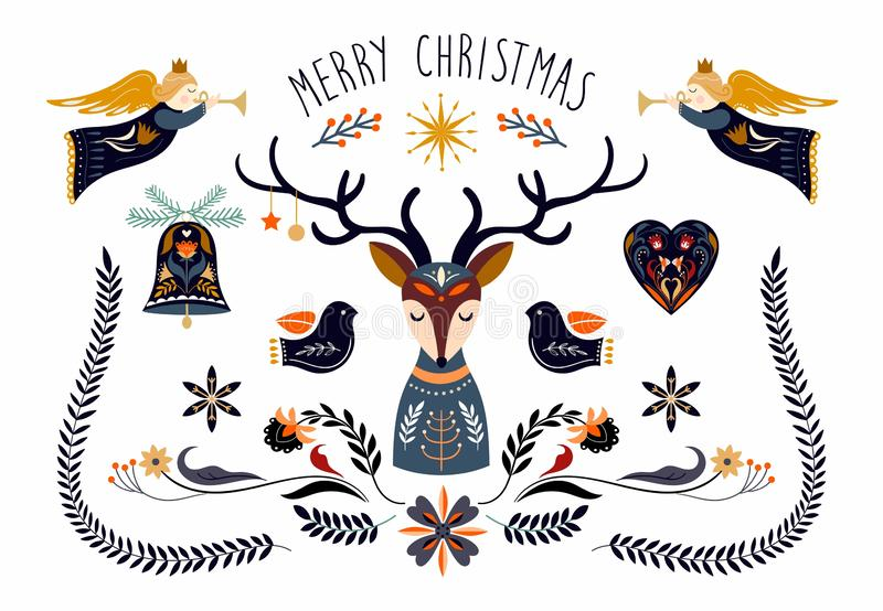 Christmas greeing card with Scandinavian elements stock illustration