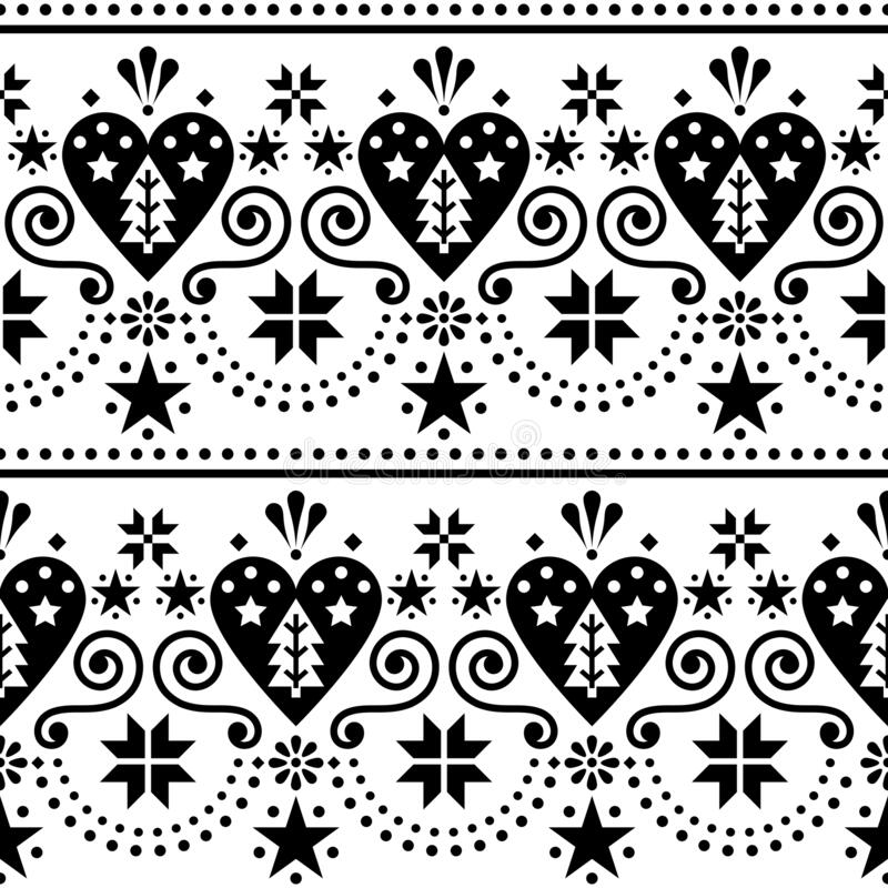 Scandinavian Christmas folk art seamless vector pattern - long, horizontal repetitive design with Christmas trees, snowflakes and. Hearts, Nordic style Xmas royalty free illustration