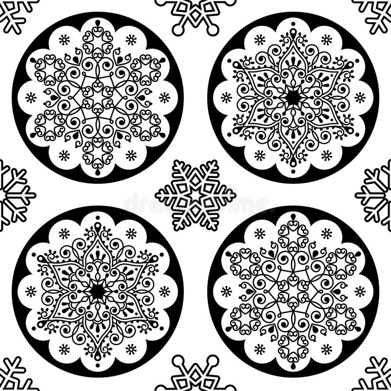 Download scandinavian christmas folk pattern snowflake mandala seamless design black and white xmas wallpaper