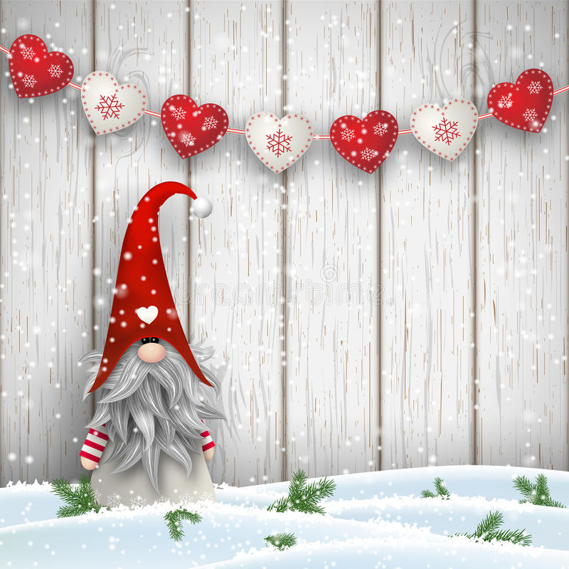 Free Scandinavian Christmas Traditional Gnome, Tomte, Illustration Stock Images - 77238624