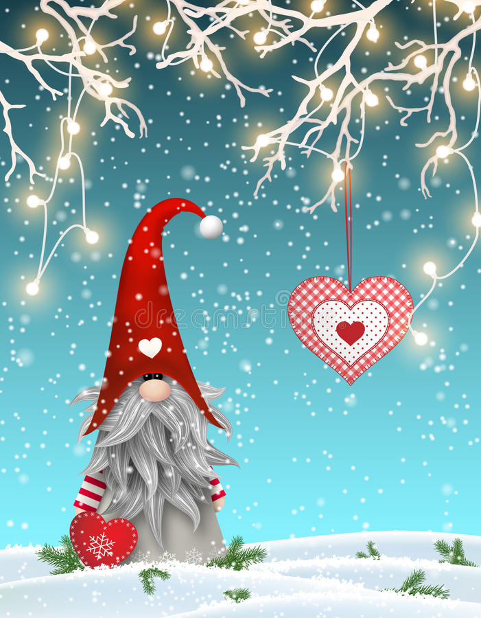 Scandinavian christmas traditional gnome, Tomte standing uder branches decorated with electric lights and hanging red. Heart, Nisser in Norway and Denmark vector illustration