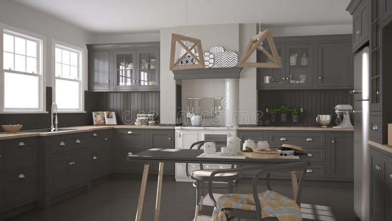 scandinavian classic gray kitchen with wooden details