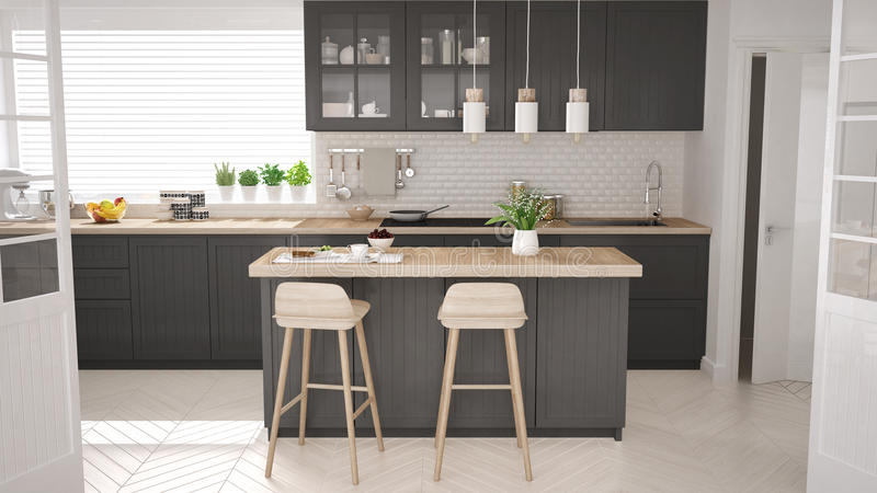 Scandinavian classic kitchen with wooden and gray details, minim vector illustration