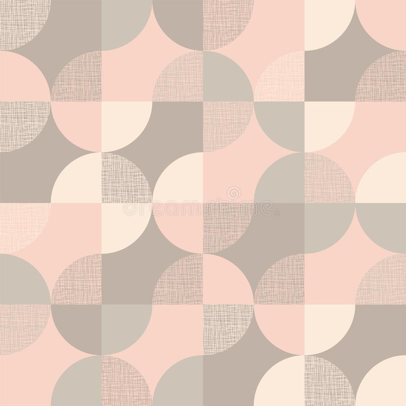 Scandinavian colors geometric seamless pattern. Scandinavian light colors geometric seamless pattern. Round shapes mosaic repeatable motif for background, wrap stock illustration