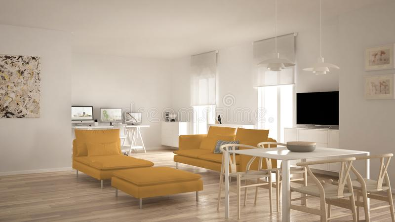 Scandinavian contemporary living room open space with dining table, sofa and chaise longue, office, home workplace with computers,. Minimal modern white and stock photos
