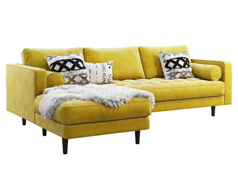 Scandinavian corner yellow velvet upholstery sofa with chaise lounge. 3d render. Scandinavian corner fabric sofa. Velvet upholstery chaise lounge sofa with royalty free illustration