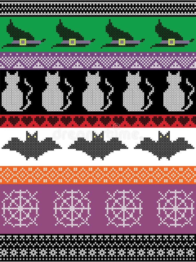 Scandinavian cross stitch and traditional American holiday inspired seamless Halloween pattern with witch hat, spider web, heart royalty free illustration