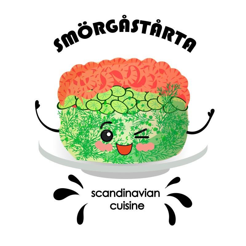 Scandinavian cuisine. Sandwich cake with salmon and shrimps SM RG ST RTA - Swedish translation vector illustration