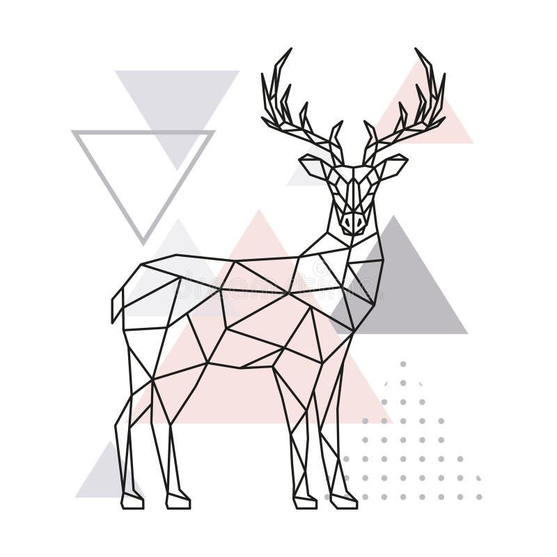Scandinavian deer, side view. Geometric vector illustration stock illustration