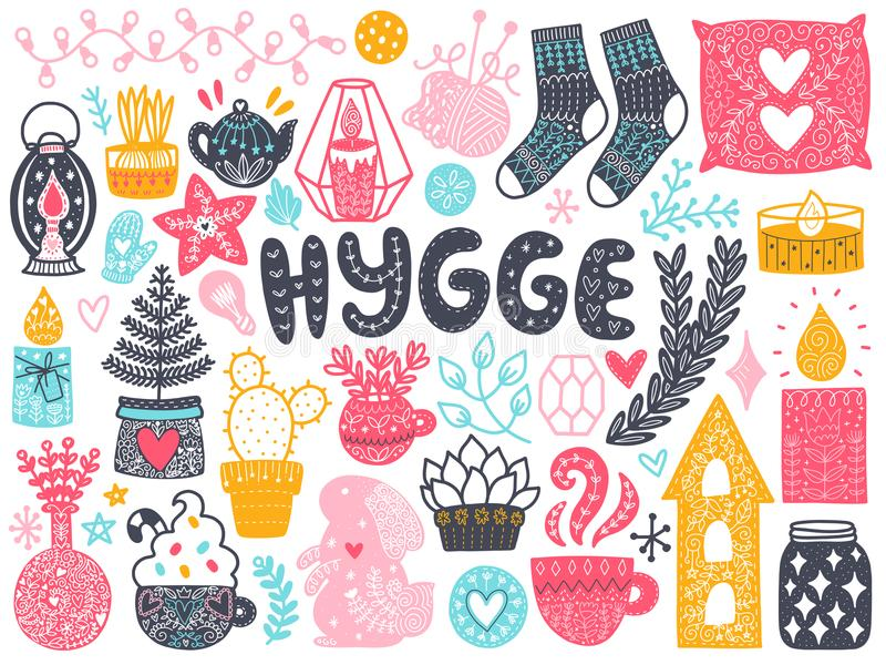 Scandinavian Doodles elements stock illustration