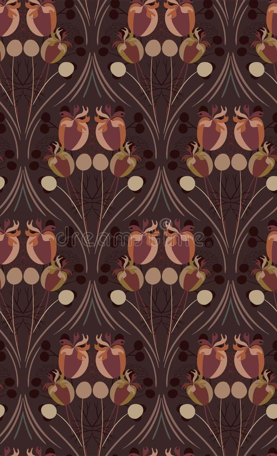 Scandinavian för blom- design för vektor för modell för abstrakt blomma för äng grå sömlös primitiv royaltyfri illustrationer