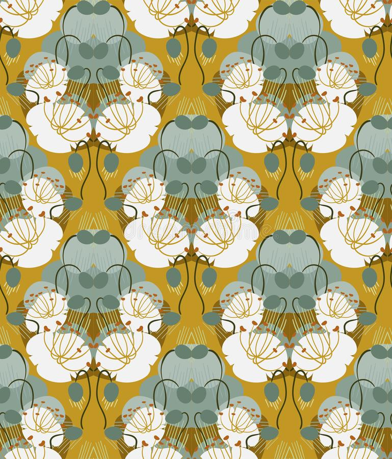 Scandinavian för blom- design för vektor för modell för ockravallmo sömlös primitiv vektor illustrationer