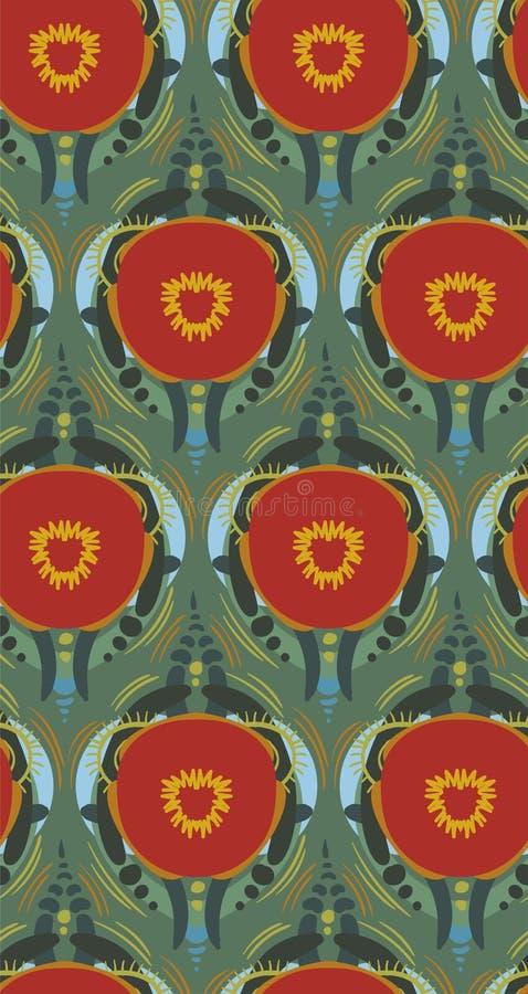 Scandinavian för blom- design för vektor för modell för röd vallmobakgrund sömlös primitiv vektor illustrationer