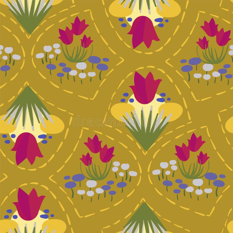 Scandinavian för blom- design för vektor för modell för rosa äng för blomma gul sömlös primitiv stock illustrationer