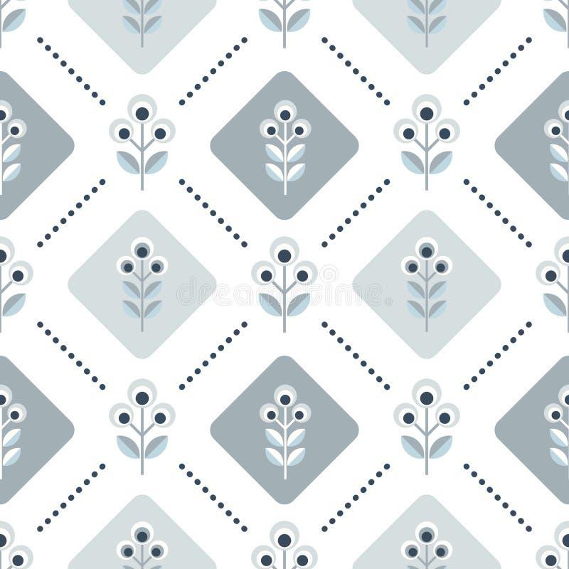 Scandinavian floral background, mid century wallpaper, seamless pattern, royalty free illustration