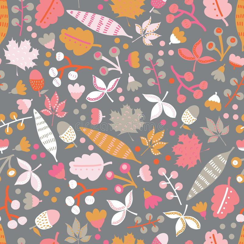 Scandinavian flowers and leaves seamless vector background. Pink orange white gray floral elements on dark background. stock illustration