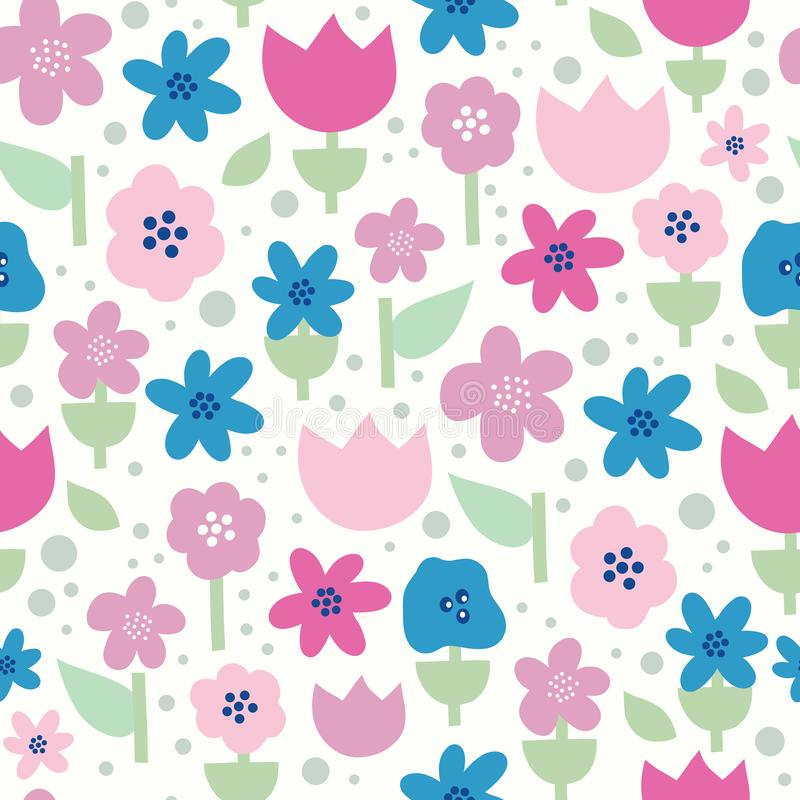 Scandinavian flowers seamless vector pattern. Flat stylized florals in pink, purple and blue on white background.  royalty free illustration