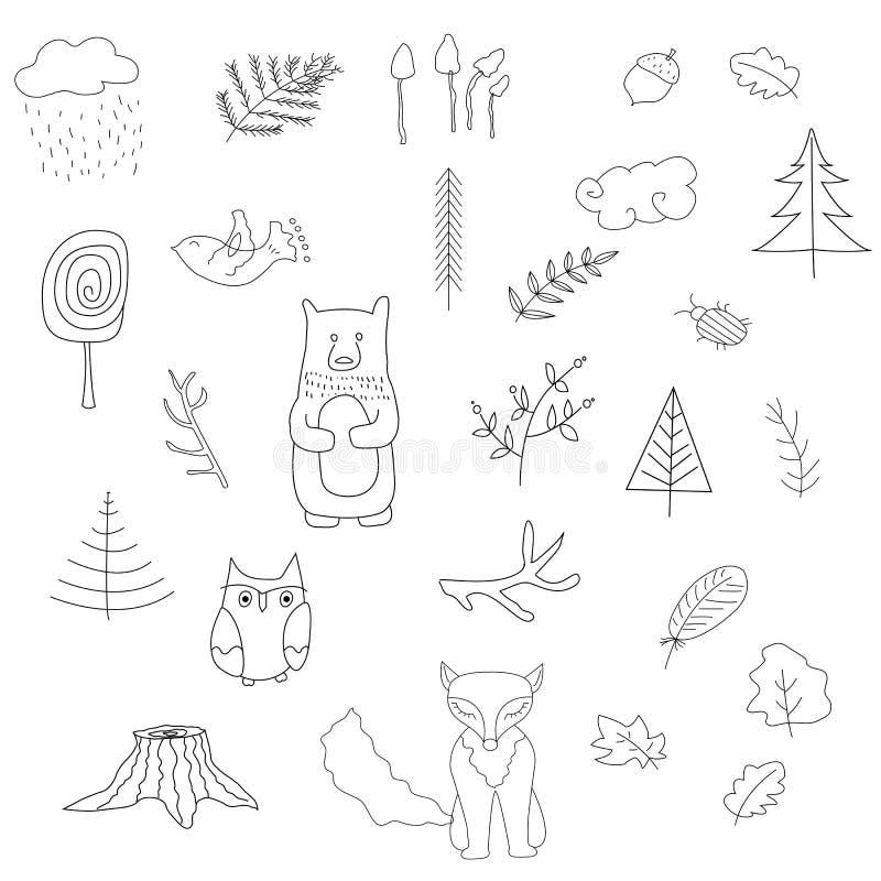 Scandinavian forest set of elements. stock illustration
