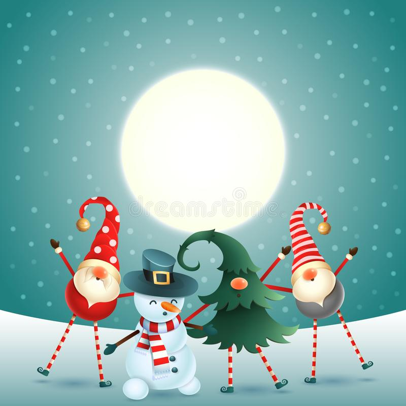 Scandinavian gnomes and snowman celebrate New year in front of magical moon vector illustration