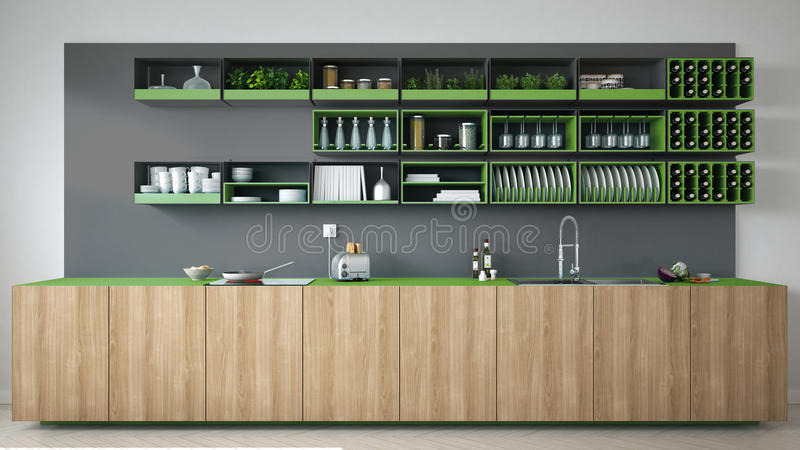 Scandinavian gray kitchen with wooden and green details, minimal stock image