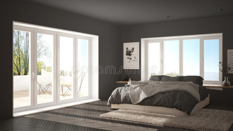 Scandinavian gray minimalist bedroom with panoramic window, fur carpet and herringbone parquet, modern architecture interior desig. N royalty free stock photo