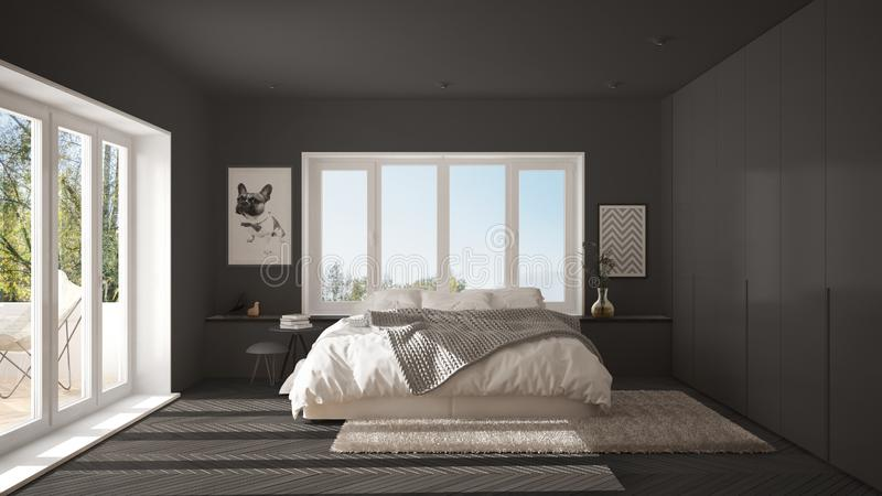 Scandinavian gray minimalist bedroom with panoramic window, fur carpet and herringbone parquet, modern architecture interior desig. N royalty free stock photos