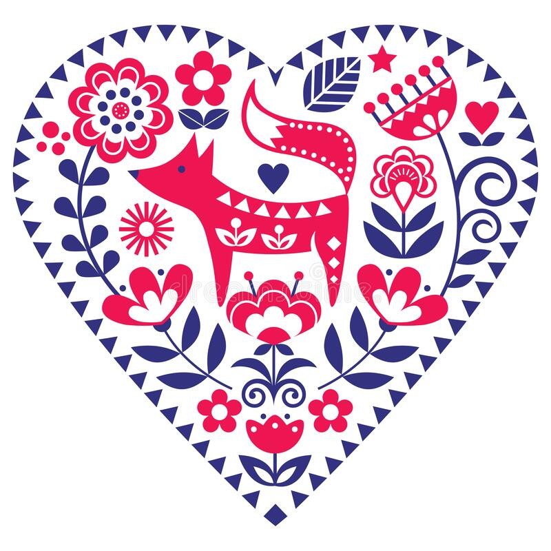 Free Scandinavian Heart Shape Folk Art Vector Pattern With Flowers And Fox, Valentine`s Day Floral Greeting Card Or Wedding Invitation Stock Photo - 176233960